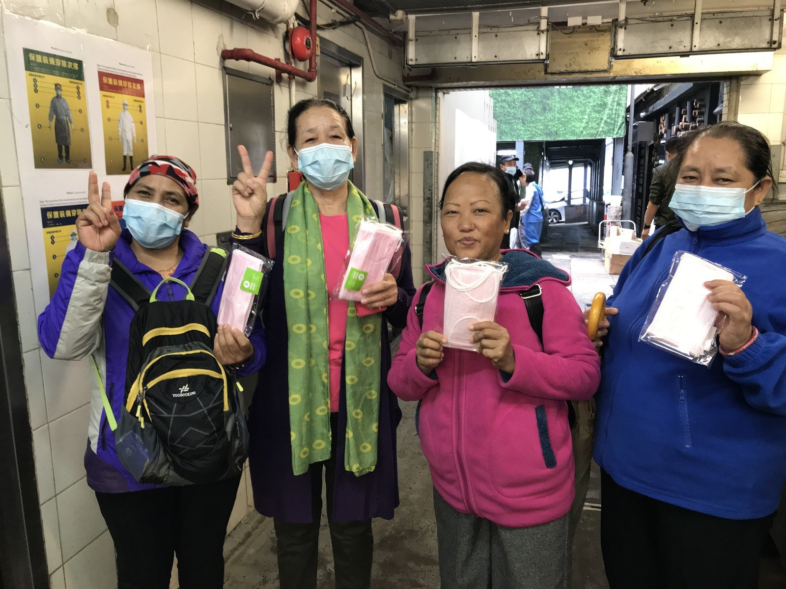 According to the Cleaning Workers' Union, an estimated 20 per cent of outsourced government cleaners are ethnic minorities, and many of them are Nepalese. Oxfam Hong Kong staff recently distributed masks at the Lan Kwai Fong Refuse Collection point; most of the cleaners there were Nepalese women.